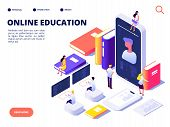 Online Education Concept. Internet Class Training And On-line Course. Educate On Distance. Isometric poster