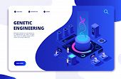 Dna Isometric Concept. Genetic Engineering Lab With People Scientists. Doctors Researching Cells. Dn poster