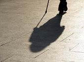 Person Walking With A Cane, Black Silhouette And Long Shadow On Pavement. Concept Of Old Age, Blind  poster