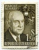 AUSTRIA - CIRCA 1960: A stamp shows Adolf Schärf, the sixth President of Austria, circa 1960