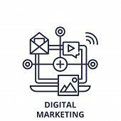 Digital Marketing Line Icon Concept. Digital Marketing Vector Linear Illustration, Symbol, Sign poster