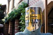 Iron and gold helm