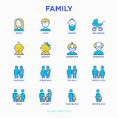 Family Thin Line Icons Set: Mother, Father, Newborn, Son, Daughter, Lesbian, Gay, Single Mother And  poster