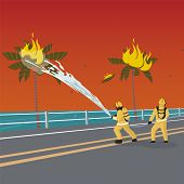 Vector Illustration Cartoon Fire Extinguishing. Two Men Firefighters Extinguish Fire. Palm Fire Exti poster