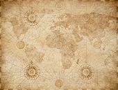 old medieval nautical world map poster