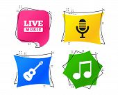 Musical Elements Icons. Microphone And Live Music Symbols. Music Note And Acoustic Guitar Signs. Geo poster