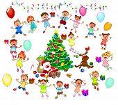 Joyful Little Children And Santa Near The Christmas Tree. Santa, Deer And Children Celebrate Christm poster