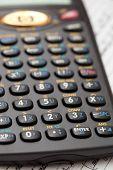 A black scientific calculator