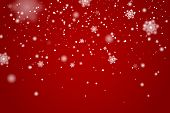 Snow Falling Background. Vector Magic Christmas Eve Snowfall. White Glitter Snowflakes Falling Down  poster