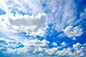 Fluffy clouds in a perfect blue sky poster