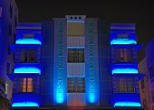 Night Time View Of Art Deco Hotel In South Beach