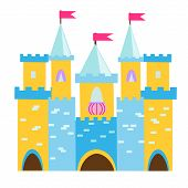 Fairy Tale Castle With Turrets. Princess Palace. Vector Illustration For Children, Kids Tales poster