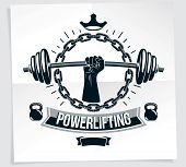 Weightlifting Club Promotion Flyer. Strong Muscular Arm Holds Barbell, Vector Illustration. poster