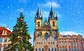 Christmas in Prague, Czech Republic. Green christmas tree at central square old town (Staromestska)  poster