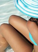 picture of insole  - Young woman relaxed on the beach - JPG