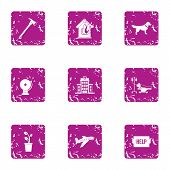 Outside Help Icons Set. Grunge Set Of 9 Outside Help Icons For Web Isolated On White Background poster