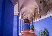 Santa Catalina Monastery In Arequipa, Peru Features Colourful Buildings. Arequipa Is Perus Second Bi poster