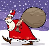 Santa Claus With Sack Cartoon Illustration