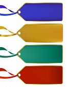 Set Of Rich Luxury Color Labels, Tags With Gold Boarders