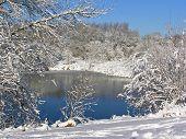 Snowfall Water Scene