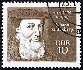 Postage stamp GDR 1970 Johann Gutenberg, Printer