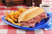 Roast Beef Snadwich On A Picnic Table