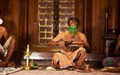 Kathakali actors make-up, India