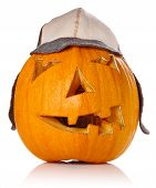 Halloween Pumpkin.scary Jack O'lantern In Warm Cap