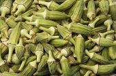 image of okra  - A Fresh Green Okra Crop Texture Background - JPG