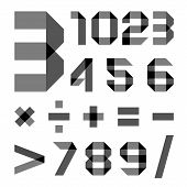 picture of arabic numerals  - Alphabet from a paper transparent tape  - JPG