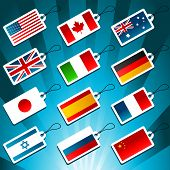 Tags Representing World Flags