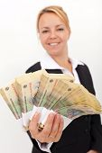 Woman Handing You A Stack Of Romanian Currency
