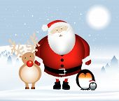 Santa And Penguins