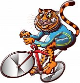 Athletic tiger riding a bike