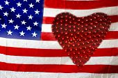 American Flag With Red Heart