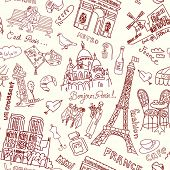 stock photo of moulin rouge  - Sightseeing in Paris seamless doodles background - JPG