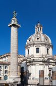 Italy. Rome. Trojan column and churches of Santa Maria di Loreto