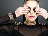 Fashion Woman With Black Nails