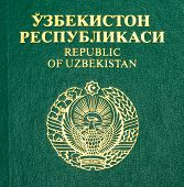 foto of passport cover  - Fragment of the Uzbekistan passport cover close up - JPG