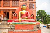 Budha statue in Swayambhunath  Monkey temple ,  Kathmandu, Nepal.