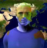 World Wide Web Encircles Mans Head with World Map