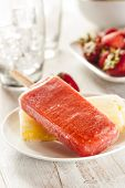 Cold Organic Frozen Strawberry Fruit Popsicle