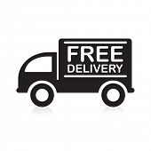 Truck with �¢�?�?Free Delivery�¢�?� sign.