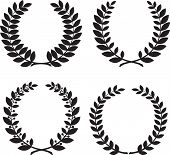 stock photo of laurel  - Set of laurel wreath black silhouettes - JPG