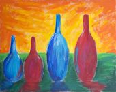 stock photo of expressionism  - Painting of four different sized bottles with reflection and bright sky - JPG