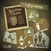 Set Of Infographics From Torn Pieces Of Paper In Vintage Style Scrapbooking. Team Work