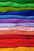 Colorful Yarns In Rainbow Colors