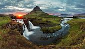 stock photo of spring-weather  - Iceland Landscape spring panorama at sunset  - JPG
