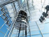 stock photo of escalator  - The interior of a modern building with an elevator - JPG