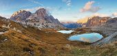 Schöne Berg mit See - Italien Alpen Dolomiten - drei Zinnen - Lago Dei Piani